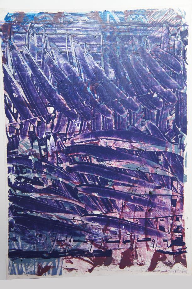 Blackcurrant Split, 2017, acrylic on heavyweight paper,